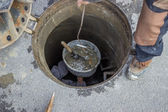 Sewer maintenance, looking down the manhole 2 — Stock Photo