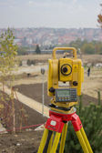 Total Station on construction site — Stock Photo