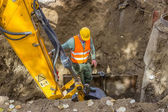 Trenches and Excavations, worker sets protection shields to prot — Stock Photo