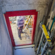 Stock Photo: In elevator shaft, installing elevator