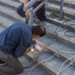 Installation a new hand railing 5 — Stock Photo