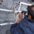 Stock Photo: Man welding a chair 4