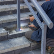 Stock Photo: Worker welding steel