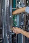 Installing elevator control panel — Stock Photo