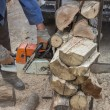 Cutting pile of wood with chainsaw — Stock Photo #35391405
