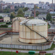 Oil storage tanks at urbplace, in Serbia, Belgrade — Stock Photo #35391539