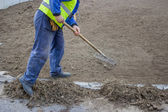 Man Raking Weeds from top soil — Stock Photo
