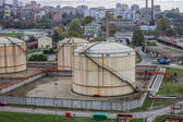 Oil storage tanks at urban place, in Serbia, Belgrade — Stock Photo