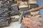 Preparation for winter, chopped wood — Stock Photo