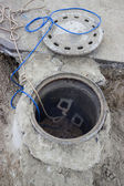 Clogged sewer line, sewer overflows 2 — Stock Photo