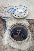 Clogged sewer line, sewer overflows — Stock Photo