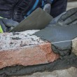 Stock Photo: Bricklaying Spreading Bed Joint
