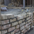 New foundation brick wall, building and construction concept — Stock Photo