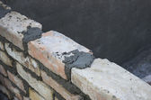 Brick laying, bricklaying spreading a bed joint 2 — Stock Photo