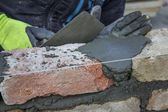 Bricklaying Spreading a Bed Joint — Stock Photo