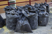 Construction waste in builders waste bags — Stock Photo