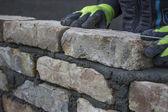 Installing brick, build a brick wall 3 — Stock Photo