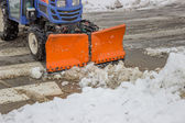 Winter pedestrian crossing clearance — Stockfoto