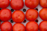 Ripen organic tomatoes in well ventilated, open cardboard boxes — Stock Photo