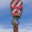 Old hook on a crane during lifting weight — Stockfoto #45692551