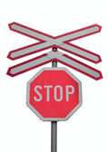 Traffic sign for stop and train railroad crossing — Stock Photo
