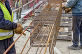 Steel reinforcement cage — Stock Photo