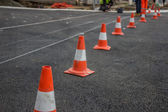 Preparing for marking new road lines — Stock Photo