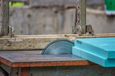Cutting insulation foam with cutting machine — Stock Photo