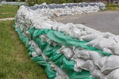 Stacked pile of sandbags for flood defense 2 — Stock Photo