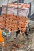 Construction crane delivered clay brick on pallet 2 — Foto Stock