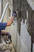 Exterior basement wall waterproofing — Stock Photo
