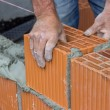Construction worker laying hollow clay block 2 — Stock Photo #49748113