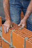 Construction worker laying hollow clay block — Stok fotoğraf