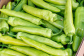 Farmers market green pepper in a crate — Stock Photo