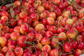 Farmers market organic cherrys in a wooden crate 2 — Stock Photo