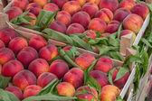 Farmers market peaches in a wooden crates 3 — Stock Photo