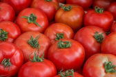 Farmers market tomato in a wooden crates,  background 2 — Stock Photo