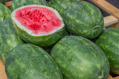 Farmers market watermelons on a wooden pallet — Stock Photo