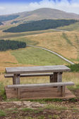 Wooden seating bench with table in nature 2 — Stock fotografie