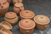 Clay cookware on sale — Stock Photo