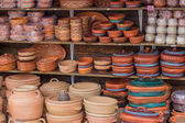 Clay ware for sale, clay cookware on sale — Stock Photo