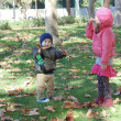 Sister and brother in autumn park N 11. — Stock Photo