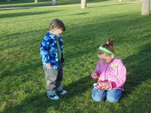 Funny sister and brother  in the park  11. — Stock Photo