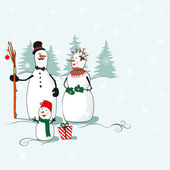 Greeting card with a snowmen — Stock Vector
