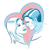 Love, man and woman with heart — Stock Vector