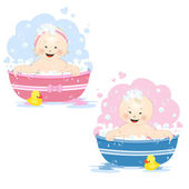 Bathing babies — Stock Vector