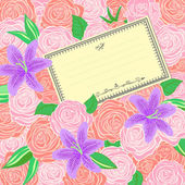Roses and Lilies background — Vector de stock