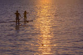 Two paddlesurfers intertwined. — Stock Photo