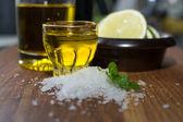 Sea salt coriander olive oil and lime — Stock Photo
