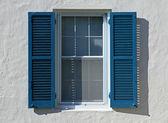 Open Window Shutters - Blue — Stock Photo